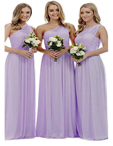 Zoe lilac sorbet lavender mauve purple grecian one shouldered long bridesmaid wedding bridal evening prom dress uk Loulous Bridal Boutique