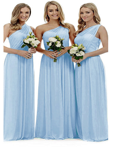 Zoe pastel pale light blue grecian one shouldered long bridesmaid wedding bridal evening prom dress uk Loulous Bridal Boutique