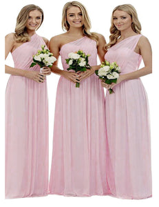 Zoe pastel pale light pink blush grecian one shouldered long bridesmaid wedding bridal evening prom dress uk Loulous Bridal Boutique