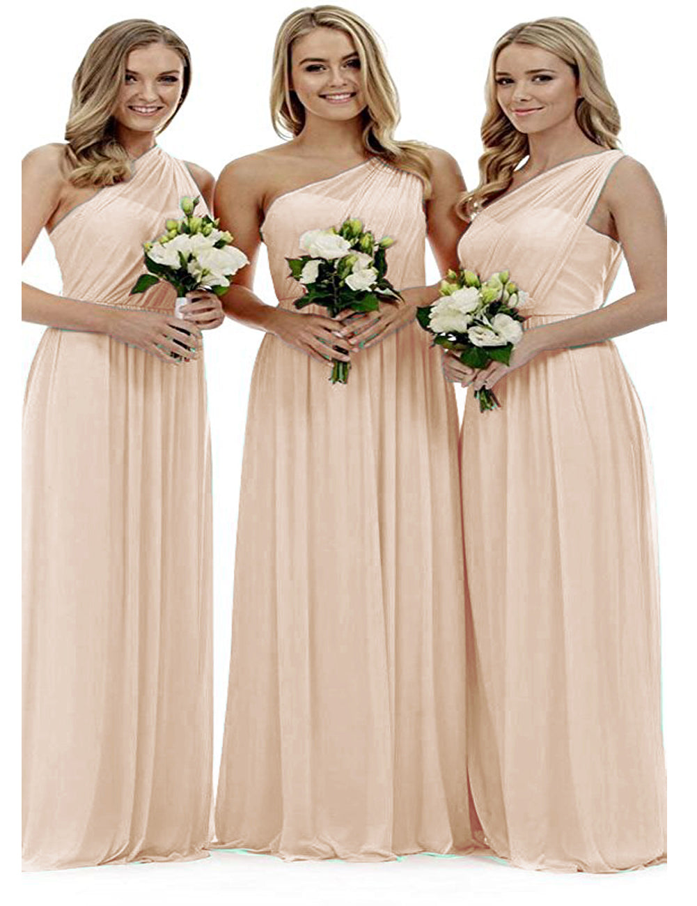 Zoe pastel peach blush grecian one shouldered long bridesmaid wedding bridal evening prom dress uk Loulous Bridal Boutique