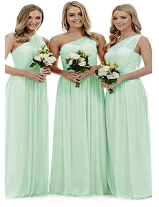 Zoe pale light pistachio green grecian one shouldered long bridesmaid wedding bridal evening prom dress uk Loulous Bridal Boutique