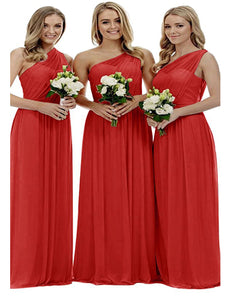 Zoe red scarlet crimson grecian one shouldered long bridesmaid wedding bridal evening prom dress uk Loulous Bridal Boutique