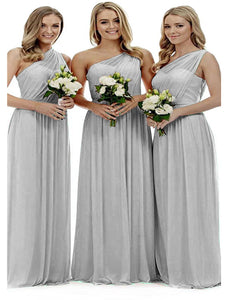 Zoe silver grey grecian one shouldered long bridesmaid wedding bridal evening prom dress uk Loulous Bridal Boutique