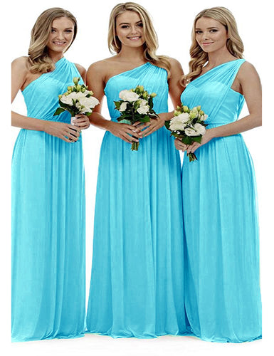Zoe aqua spa blue turquoise grecian one shouldered long bridesmaid wedding bridal evening prom dress uk Loulous Bridal Boutique