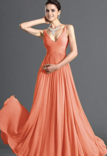 Aimee apricot coral pleat wrap over long evening prom bridesmaid wedding dress loulous bridal boutique ltd uk