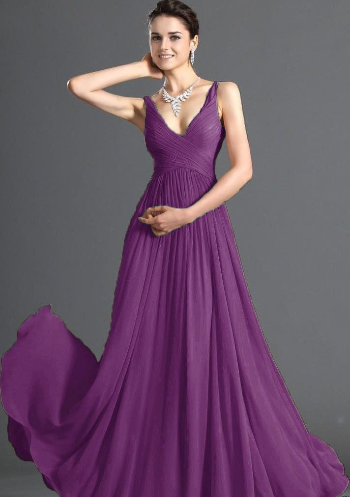 Aimee Pansy CADBURY PURPLE chiffon vneck long bridesmaid evening prom wedding dress uk loulous bridal boutique ltd