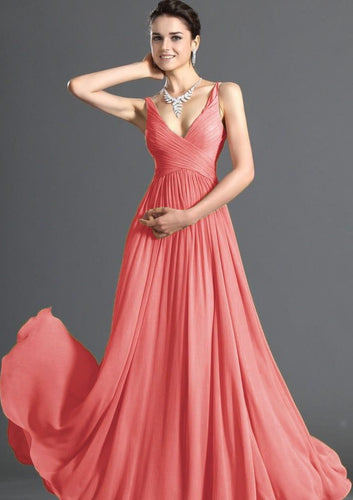 Aimee coral orange  chiffon vneck long bridesmaid evening prom wedding dress uk loulous bridal boutique ltd