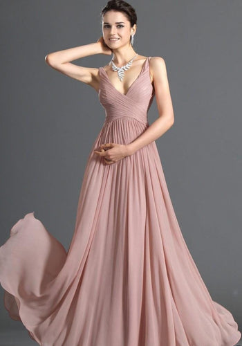 Aimee dusky pink chiffon vneck long bridesmaid evening prom wedding dress uk loulous bridal boutique ltd