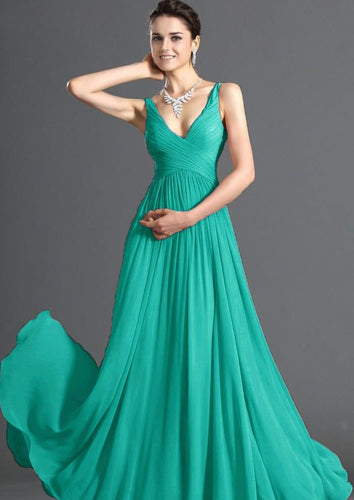 Aimee JADE GREEN chiffon vneck long bridesmaid evening prom wedding dress uk loulous bridal boutique ltd