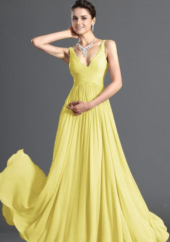 Aimee  yellow  chiffon vneck long bridesmaid evening prom wedding dress uk loulous bridal boutique ltd