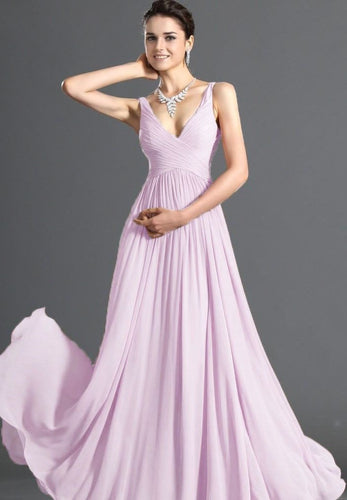 Aimee pale light pink chiffon vneck long bridesmaid evening prom wedding dress uk loulous bridal boutique ltd
