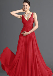 Aimee red chiffon vneck long bridesmaid evening prom wedding dress uk loulous bridal boutique ltd