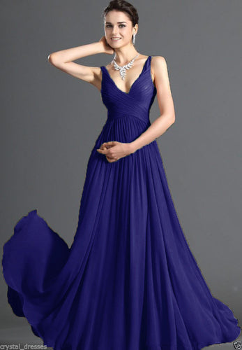 Aimee royal blue v neck slim shoulder strap long bridesmaid wedding bridal prom ballgown dress uk