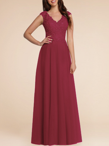 Laura Berry Burgundy Lace Chiffon Long bridesmaid prom evening dress uk loulous bridal boutique