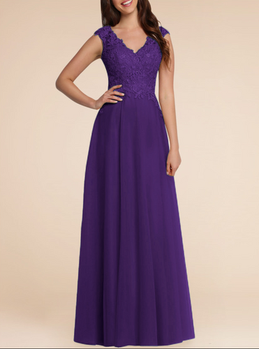 Cadbury purple lace chiffon long bridesmaid wedding prom evening dress loulous bridal boutique uk