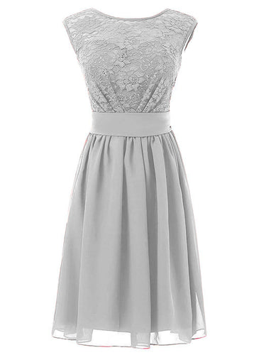 Carrie silver grey lace chiffon short bridesmaid wedding dress uk loulous bridal boutique
