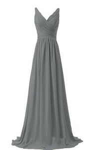 Christina dark charcoal pewter grey  vneck chiffon long bridesmaid wedding evening dress uk loulous bridal boutique ltd