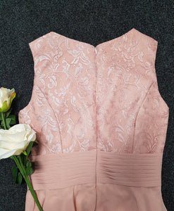clara dusky dusty blush pink lace chiffon short bridesmaid dress loulous bridal boutique ltd uk