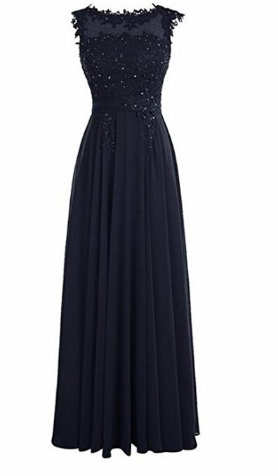 Francesca Dark Navy Midnight Blue Lace Chiffon Long Bridesmaid Wedding Bridal Evening Prom Cocktail Dress UK