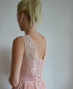 hayley dusky dusty pink lace chiffon long bridesmaid wedding bridal prom dress loulous bridal boutique ltd ukrom