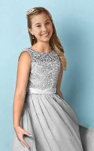 Heidi Silver Grey Lace Chiffon Flower Girl Junior