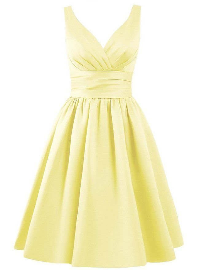 Bridget pale yellow lemon satin short bridesmaid wedding bridal evening prom mother of the bride dress