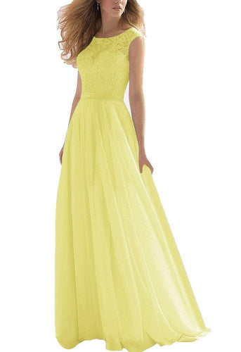 HAYLEY lemon yellow  LACE CHIFFON LONG BRIDESMAID EVENING PROM DRESS LOULOUS BRIDAL BOUTIQUE UK