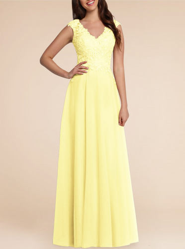 Laura Lemon Yellow lace chiffon long bridesmaid wedding bridal prom evening dress uk loulous bridal boutique
