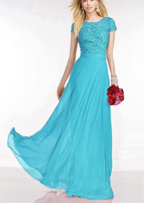 Maria turquoise aqua blue  Blue lace chiffon long bridesmaid prom wedding dress loulous bridal boutique ltd uk