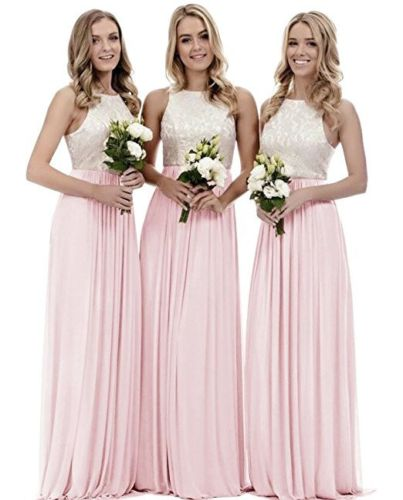 megan ivory pale pink lace chiffon long bridesmaid dress loulous bridal boutique ltd uk