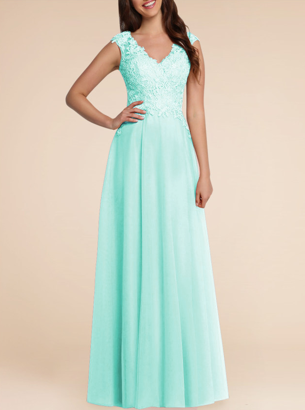 Laura Pale Mint Pastel green lace chiffon long bridesmaid wedding bridal prom evening dress uk loulous bridal boutique
