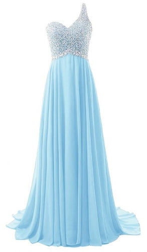 Naomi Pandora  pale light baby blue silver sequin one shoulder prom ballgown evening bridesmaid wedding bridal dress uk
