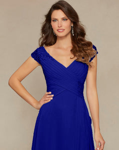 Paige Royal Cobalt Blue Long Beaded V Neck Bridesmaid Wedding Bridal Prom Evening Dress UK  Loulous Bridal Boutique