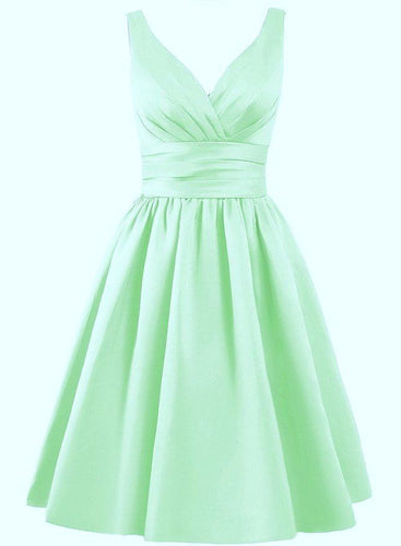 Bridget satin short bridesmaid wedding bridal evening prom mother of the bride dress mint pale green