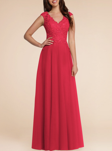 Laura Red Crimson Scarlet lace chiffon long bridesmaid wedding bridal prom evening dress uk loulous bridal boutique