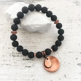 MATTE BLACK ONYX>>BLACK BEAUTY LUCKY PENNY BRACELET>>8MM