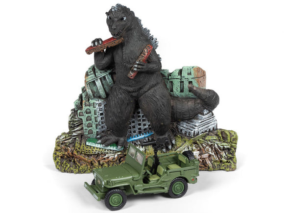 Johnny Lightning Godzilla Ground Assault With 1/64 Scale Willys MB Jeep