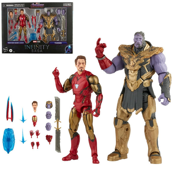 Hasbro Marvel Legends Infinity Saga Avengers Endgame Iron Man 85 vs. Thanos 6-Inch Action Figures Set