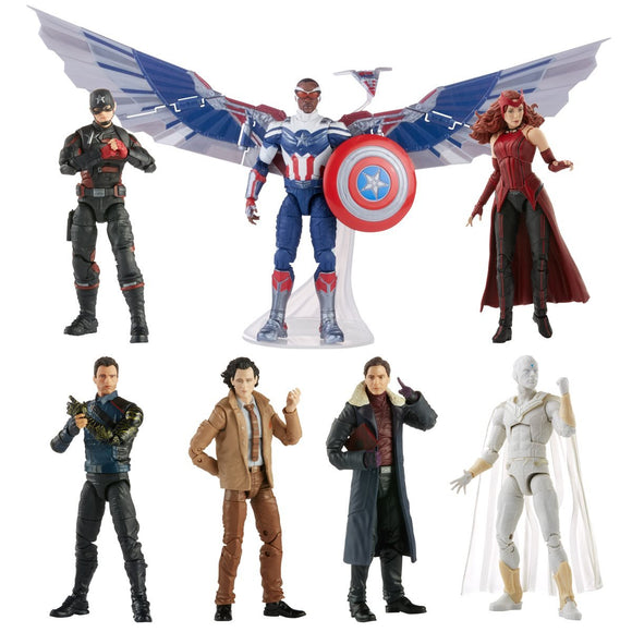 Hasbro Disney+ Marvel Legends Wave 1 Set of 7 Figures Captain America (Sam Wilson/Falcon), John Walker (U.S. Agent), Baron Zemo, Bucky Barnes (Winter Soldier), Loki, Scarlet Witch & Vision (Captain America Flight Gear BAF)