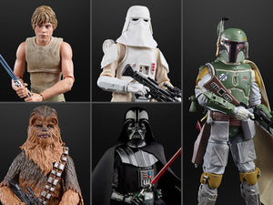 "Hasbro Star Wars 40th Anniversary The Black Series 6"" Wave 36 Set of 5 Figures (Darth Vader, Boba Fett, Luke Skywalker, Chewbacca, Snowtrooper)"