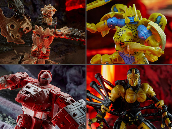 Hasbro Transformers War for Cybertron Kingdom Deluxe Set of 4 Figures Paleotrex, Cheetor, Warpath & Blackarachnia