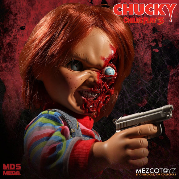 Mezco Toyz Child's Play 3 Designer Series Talking Pizza Face Chucky Mega Size 15