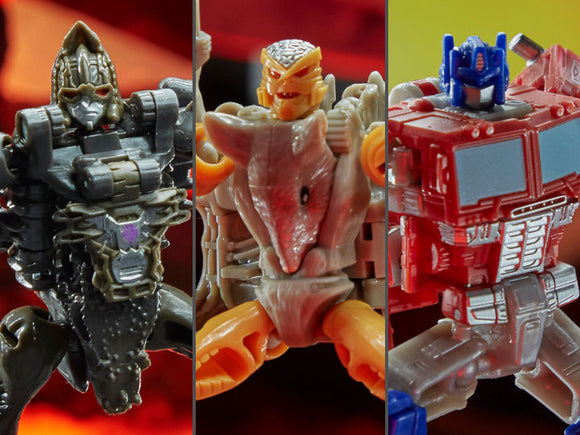 Hasbro Transformers War for Cybertron Kingdom Core Set of 3 Figures Optimus Prime, Rattrap & Vertebreak
