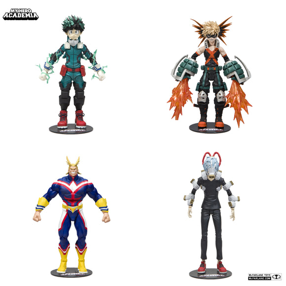 McFarlane Toys My Hero Academia Series 1 Action Figure Set Izuku Midoriya, Katsuki Bakugo, All Might & Tomura Shigaraki