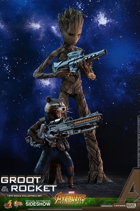 Hot Toys Marvel Avengers Infinity War Groot & Rocket 1/6 Scale Figure Set