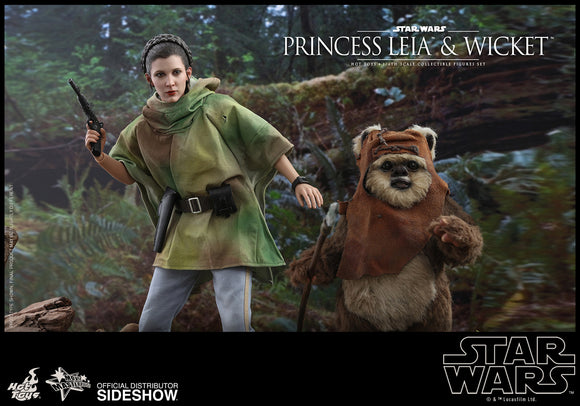 Hot Toys Star Wars Episode VI Return of The Jedi Princess Leia & Ewok Wicket 1/6 Scale Figure Set