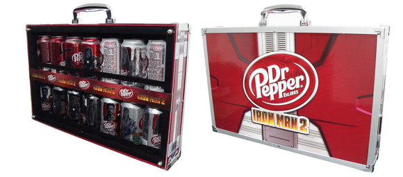 Dr. Pepper Iron Man 2 Promotion Can set of 14 in Suitcase Signed by Stan Lee