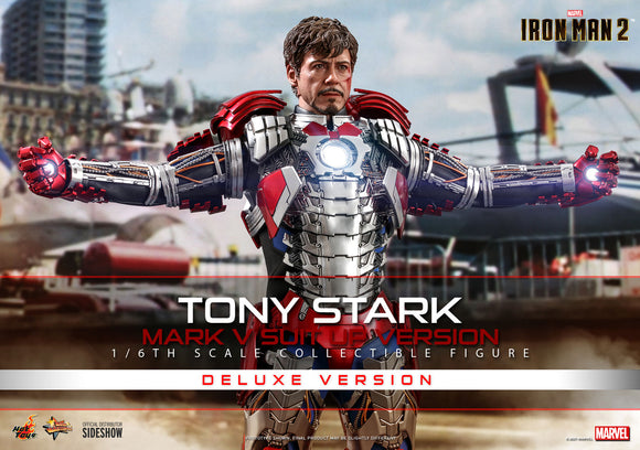 Hot Toys Marvel Comics Iron Man 2 Tony Stark (Mark V Suit Up Version) Deluxe 1/6 Scale 12