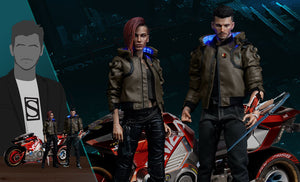 PureArts Cyberpunk 2077 V Male & Female 1/6 Scale Limited Edition Figure Set With Yaiba Kusanagi Sportbike