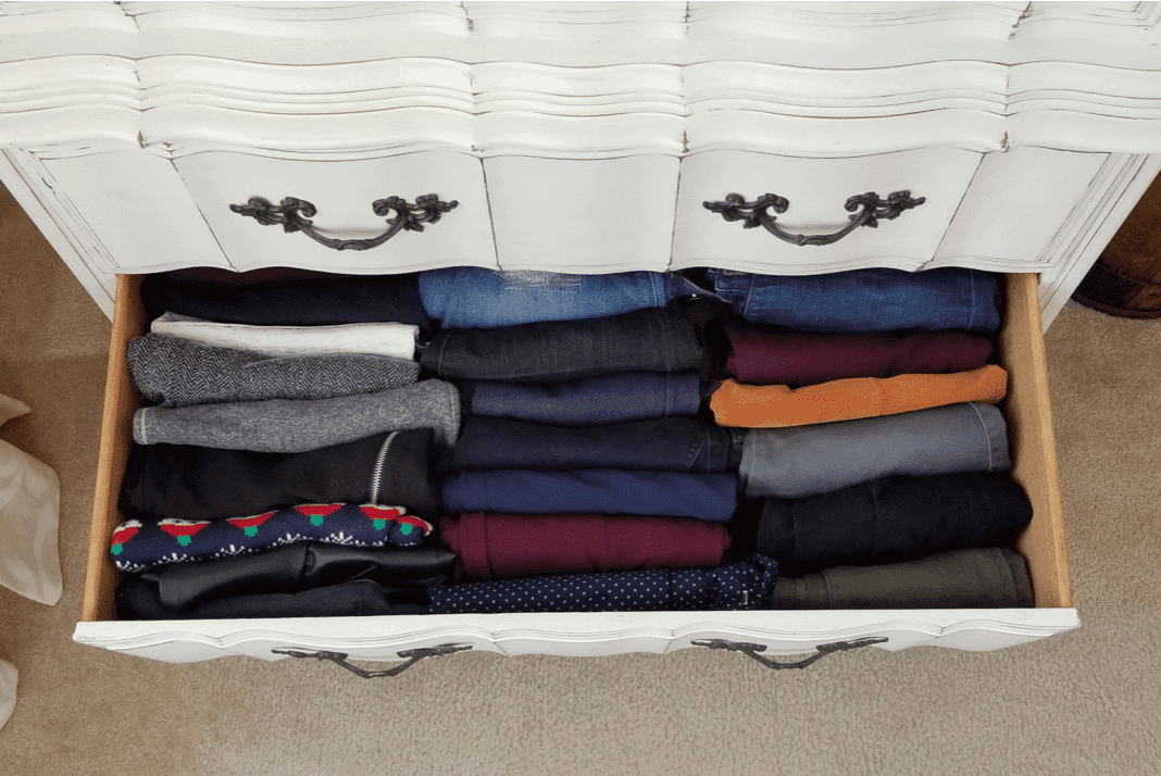 Pants in a drawer folded using the Konmari technique